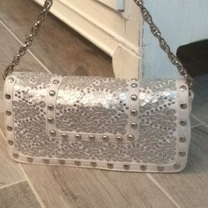 Gorgeous Silver Studded Chain Handbag